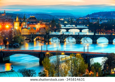 Prague skyline at sunset. Czech Republic - stock photo