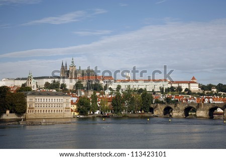 Prague Skyline, include Charles Bridge and Prague Castle, seen from  Legion Bridge
