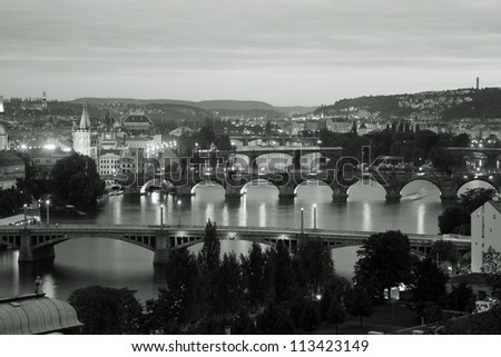 Prague Skyline over vltava river seen from  Letna Park(Letenske sady) - stock photo