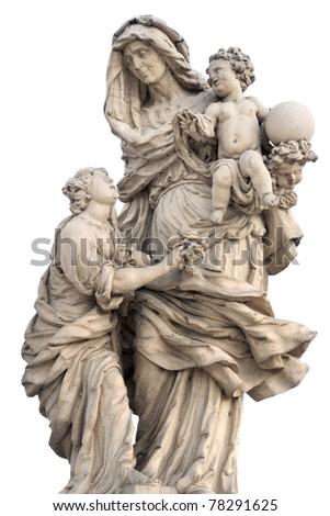 Prague - statue holy Anne from Charles bridge - stock photo