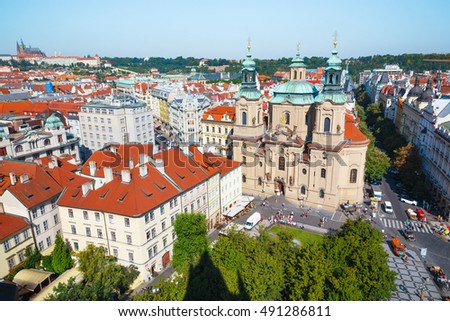 Prague the capital of the Europe state of the Czech Republic. Architecture cityscape of top view of the city. Old Town Square and Church of St. Nicholas