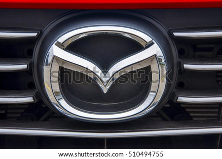 PRAGUE, THE CZECH REPUBLIC, 02.11.2016 - Logo of car Mazda