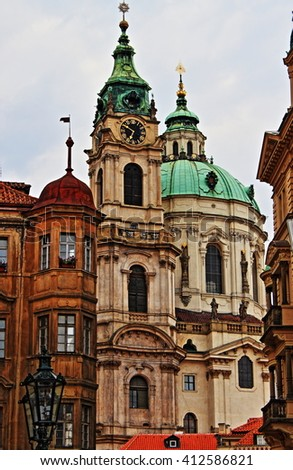 Prague urban scenic with churches and domes. Czech Republic - HDR - stock photo