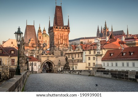 Prague View from Charles Bridge to the mala strana with the castle in the background - stock photo