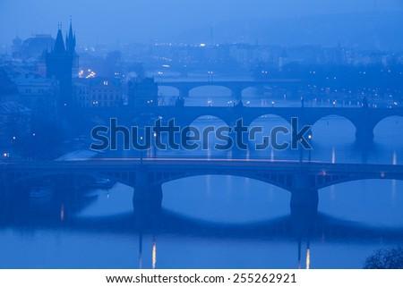 Prague, view from Letna on Charles Bridge - stock photo