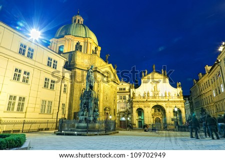 Prague, view of St. Salvator's cathedral at night - stock photo