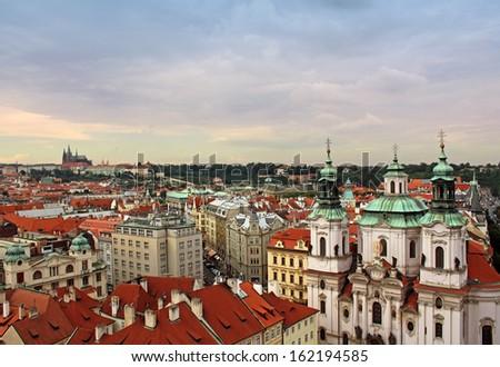 Prague view with St. Nicholas Church - stock photo