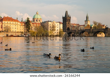 Prague. Vltava river and Charles bridges