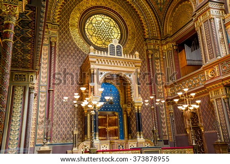 Praha, Czech Republic, August 10, 2015: Synagogue in Prague