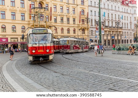 Praha, Czech Republic, August 12.2015: the old tram on the streets in Prague