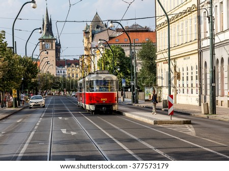 Praha, Czech Republic, August 10.2015: the old tram on the streets of Prague