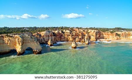 Praia da Marinha in the Algarve, the most famous beach in Portugal - stock photo