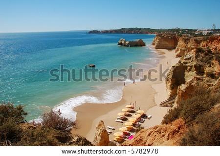 praia da rocha beach - stock photo