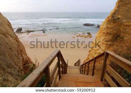 Praia da Rocha, on the Atlantic Ocean in Algarve, southern Portugal. - stock photo