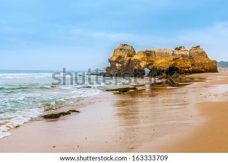 Praia da Rocha's beach area on the Atlantic Ocean in Algarve, southern Portugal - stock photo