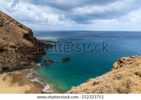 Prainha beach - bay on east coast of Madeira island, Portugal - stock photo