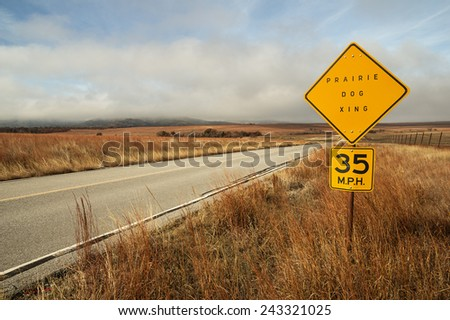 prairie dog crossing sign by the side of the road - stock photo