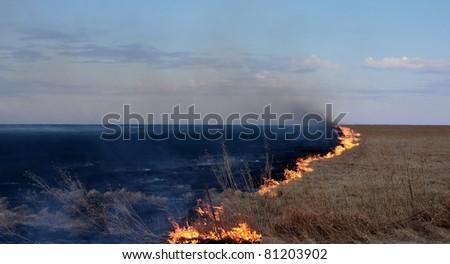Prairie Fire Flint Hills, Kansas - stock photo