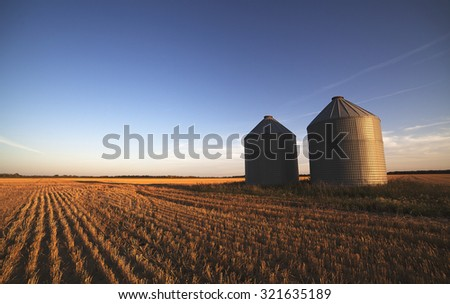 Prairie Grain Silos - stock photo