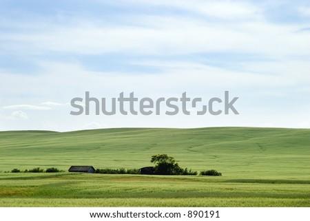Prairie horizon in rural Saskatchewan. - stock photo