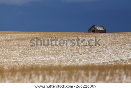 Prairie Landscape in winter Saskatchewan Canada scenic - stock photo