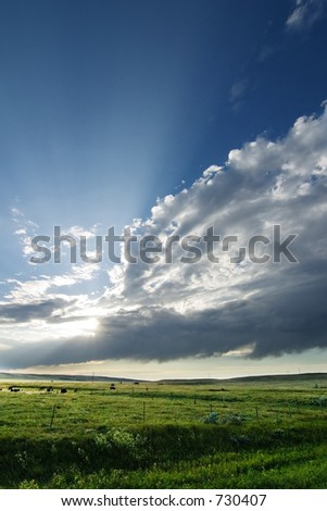 Prairie Landscape with a vivid sky - stock photo