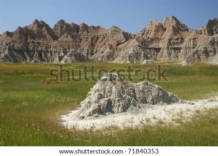 Prairie meeting Badlands rock formations, Badlands national park, SD - stock photo