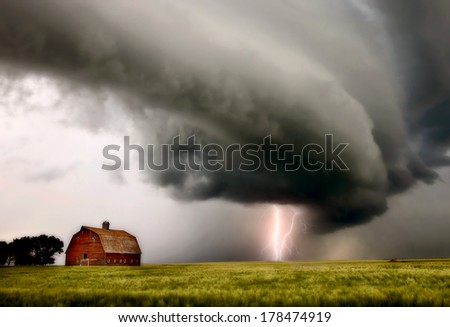 Prairie Storm Clouds ominous weather Saskatchewan Canada - stock photo