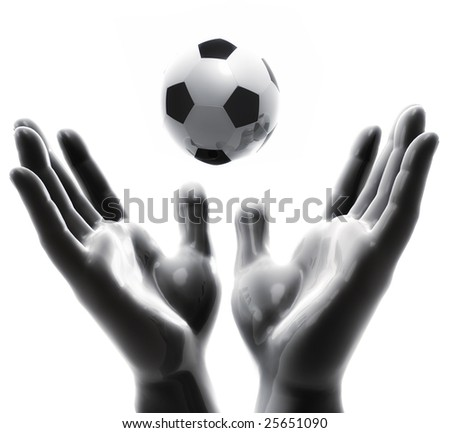 Praising for soccer ball game - stock photo