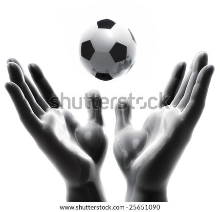 Praising for soccer ball game - stock photo