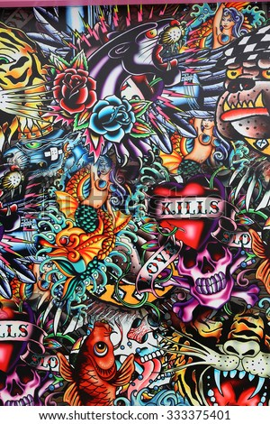 PRAJUABKIRIKHAN, THAILAND - OCTOBER 18: Board Show for Old School Tattoo background at Huahin on October 18, 2015 in Prajuabkirikhan, Thailand