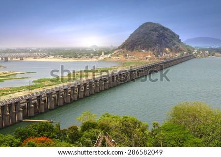 Prakasam Barrage in Vijayawada, India - stock photo