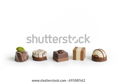 pralines or assorted chocolate - stock photo