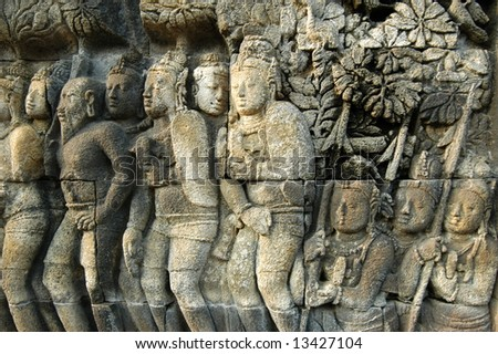 Prambanan and Borobudur temple - stock photo