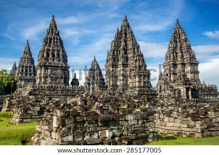 Prambanan temple near Yogyakarta on Java island, Indonesia - stock photo