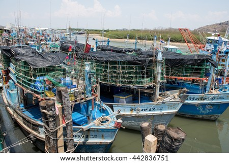 Pranburi, Thailand MAY 7, 2016 : Fishing boats in a Harbour at Pranburi, Thailand - Editorial