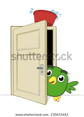 Prank being played on a cute little cartoon bird peering cautiously round the edge of an open doorway on which is balance a basin of water about to dislodge and fall on it, illustration - stock photo