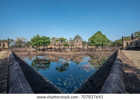 Prasat Muang Tam historical park at Buriram Province,Thailand ( Generality in Thailand,and kind of art decorated in Buddhist church,temple pavilion,temple hall.They are public)