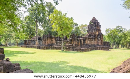 Prasat Mueang Sing Historical Park, Remains buildings of the ancient Khmer style temple attraction famous cultural in Sai Yok District, Kanchanaburi Province, Thailand, 16:9 wide screen - stock photo