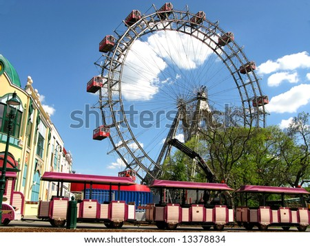 Prater - giant old ferris wheel in Vienna, Austria - stock photo