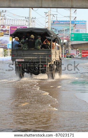 PRATHUMTHANI, THAILAND - OCTOBER 19: Heavy flooding from monsoon rain in Ayutthaya and north Thailand arriving in Bangkok suburbs on October 19, 2011 in Prathumthani, Thailand.