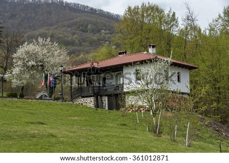 Pravets, Bulgaria - April 13, 2012: Part of Pravets  Municipality in central western Bulgaria, Balkan mountain, Monastery Svety  Teodor Tiron with church. Visit of Pravets region in springtime.