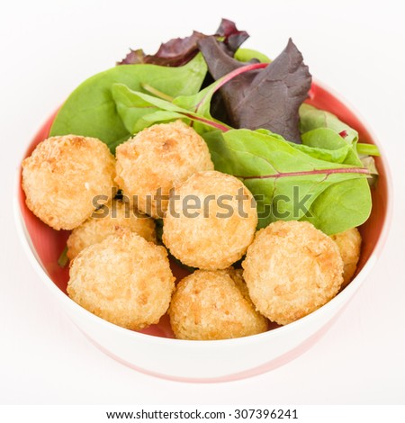 Prawn & Coconut Popcorn - Shrimp meat coated in coconut batter, breaded and deep fried. - stock photo