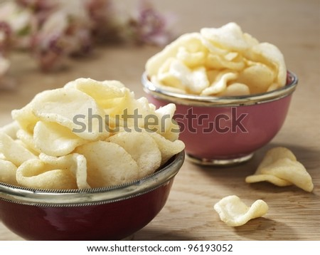 Prawn crackers oriental - stock photo
