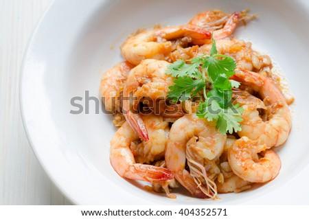 Prawn garlic shrimp - stock photo