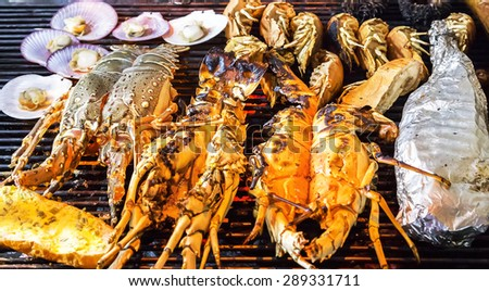 prawn, lobster, seashell meat Barbecue Grill - sea food BBQ