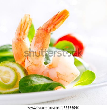 Prawn salad. Healthy Shrimp Salad with mixed greens and tomatoes. Diet. Weight Loss Food. Shrimps - stock photo