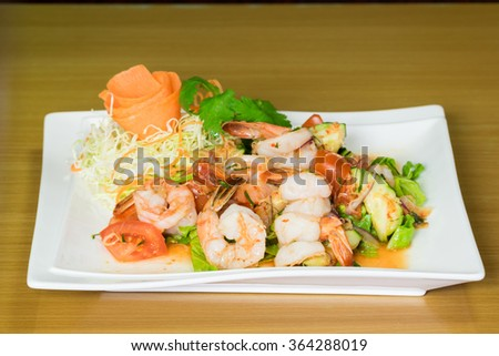 Prawn salad. Simple and healthy salad of shrimp. - stock photo
