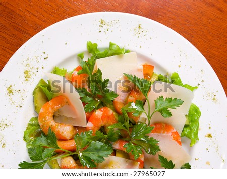 Prawn salad. Simple and healthy salad of shrimp with cheese