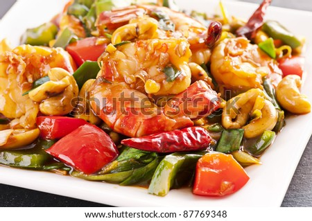 Prawns stir fried with chili